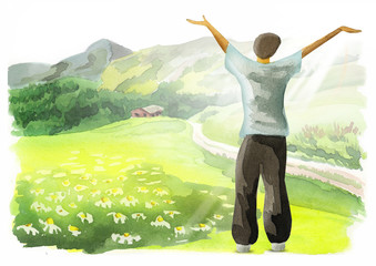Freedom. Healthy living concept. Watercolor background