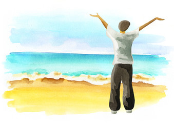 Freedom. Summer lifestyle on the coast. Healthy living concept. Watercolor