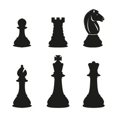 Chess pieces set. Vector illustration.