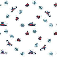 New Year pattern handmade sled tree toy white snowflakes vector background