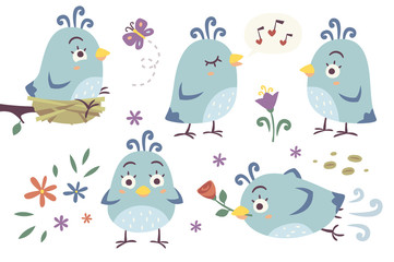 vector cartoon birds set