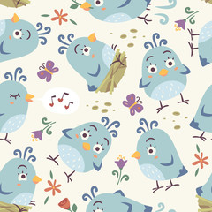 vector cartoon bird seamless patern