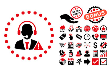 Emergency Service pictograph with bonus design elements. Vector illustration style is flat iconic bicolor symbols, intensive red and black colors, white background.