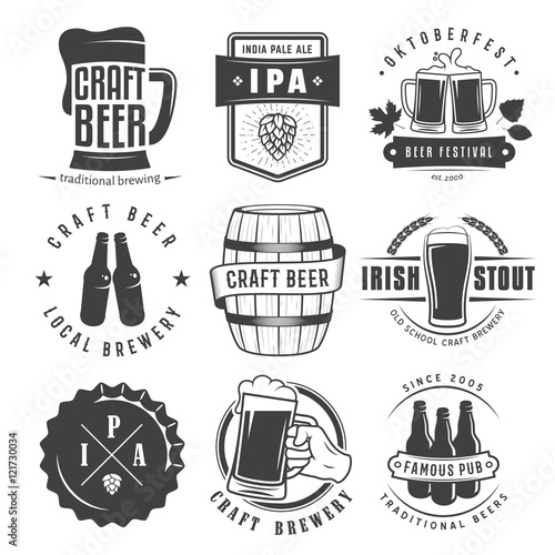 Vector Craft Beer Badges And Logos Set Of Retro Labels