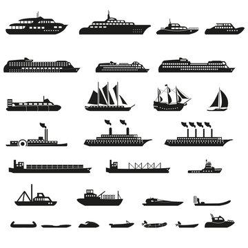 Set of ships and boats.