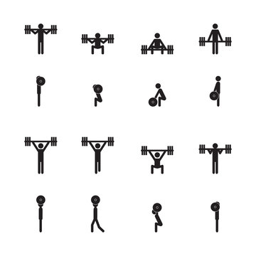 Weightlifting icon set. Vector illustration.