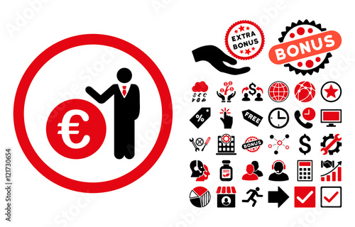 Euro Economist Icon With Bonus Images Vector Illustration Style Is