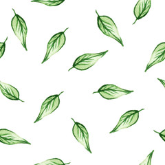 Seamless watercolor pattern with green leafs