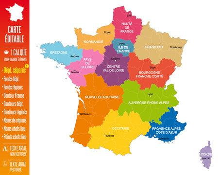 France - Nouvelle carte à 13 régions éditable