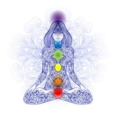 Woman ornate silhouette sitting in lotus pose. Meditation, aura