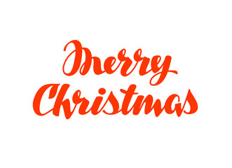 Merry Christmas hand lettering. Vector calligraphy element for design xmas card