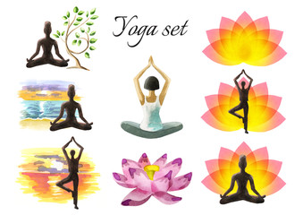 Yoga watercolor set