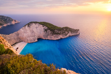 Landscape sunset view of famous shipwreck beach in Zakynthos