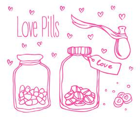Love potion. Bottles.