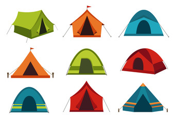 Set of camping tent vector icons isolated on white background.