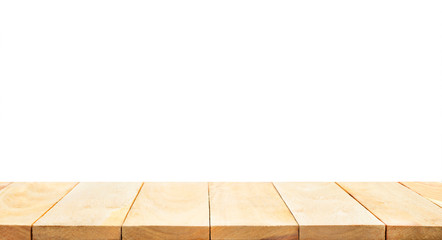 Empty of wood table top on white background.