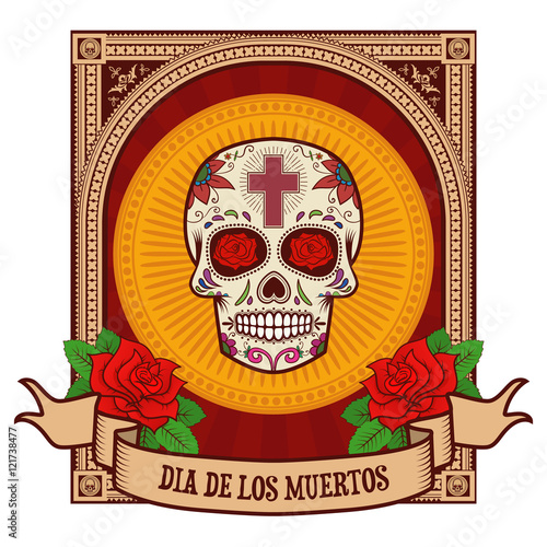 Day Of The Dead Sugar Skull In Vintage Frame Stock Image And