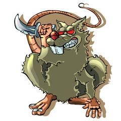 cartoon rat on white backgraund. vector illustration
