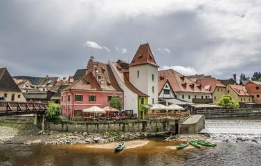 Cesky Krumlov , amazing unique medieval town in Bohemia, Czech Republic