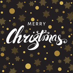 Merry Christmas  greeting  card with  lettering and  golden snow