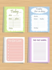"Set of four planners ""To-Do List"" on a wooden background. Vector illustration. It can be used daily for organising a day"