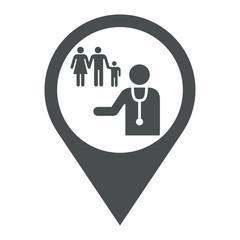 Icono plano localizacion medico de familia gris