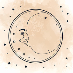 Moon and stars. Vector illustration in retro style.