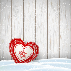 Christmas motive in scandinavian style, red and white decorated hearts in front of bright wooden wall, illustration