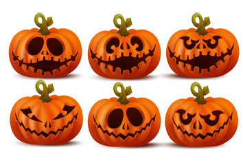 Halloween set with smiley pumpkins faces