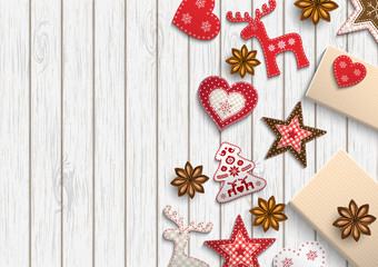 Christmas background, small scandinavian styled decorations lying on white wooden backdrop, illustration