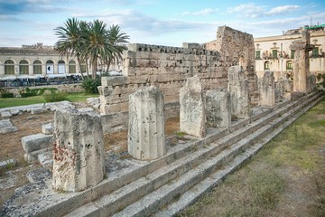 Ruins of the ancient greek doric temple of Apollo in Siracusa ..