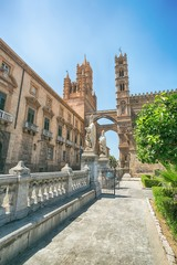 Zelfklevend Fotobehang Palermo Palermo Cathedral (Metropolitan Cathedral of the Assumption of Virgin Mary) in Palermo, Sicily, Italy. Architectural complex built in Norman, Moorish, Gothic, Baroque and Neoclassical style.