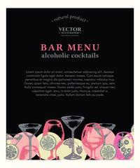 Alcohol drinks bar menu template hand drawn vector