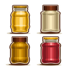 Vector Set logo Glass different Jars with metal cap for honey or mustard, collection of 4 plastic yellow and red container jar with lid for strawberry or raspberry jam isolated on white background.