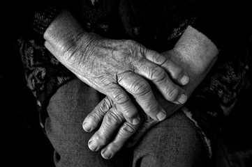 Hands of old man