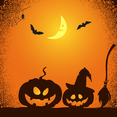 Halloween night background in orange and black colors. Vector illustration of creepy pumpkins, bats and moon.