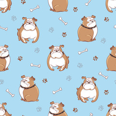 Cute cartoon dogs seamless pattern. Vector background with doodle bulldogs on blue.