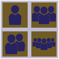 set of vector icons of groups of people blue on a brown background