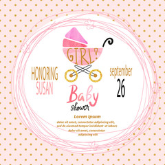 Baby shower girl. Vector invitation card design.