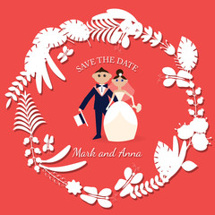 card for wedding invitations or wedding, save the date, with the figures of the bride and groom, vector, pattern, vintage, elegant, refined