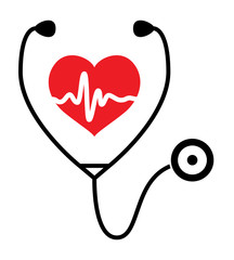 vector symbol of medical exam of heart health and stethoscope