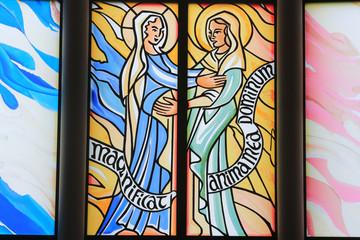 Visite de Marie àsa cousine Elisabeth. Eglise Notre-Dame du Val. Bussy-Saint-Georges. / Mary's visit to her cousin Elisabeth. Church Notre-Dame du Val. Bussy-Saint-Georges.