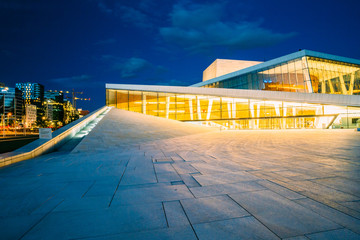 Oslo, Norway. Side View Of Brightly Illuminated Facade Of Opera