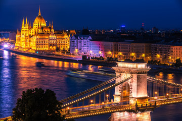Budapest, Hungary: The Szechenyi Chain Bridge, Hungarian Parliament Building