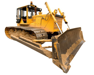 The heavy dirty building bulldozer of yellow color.