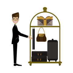 Hotel bellboy carrying the luggage.Vector