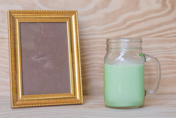 picture frame glass of milk