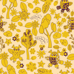 Vector pattern. abstract, Smooth lines, many, Abstract Background . seamless pattern,  Flat Style, vector, flower,  tree, owls, birds, leaves, twigs ,cartoon