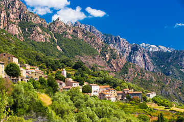 Ota town with the mountains in the background near Evisa and Porto, Corsica, France