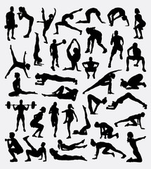 Fitness sport activity, male and female exercise silhouette. Good use for symbol, logo, web icon, mascot, sign, design, sticker, or any design you want. Easy to use.